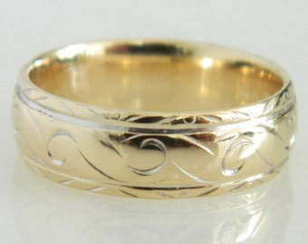 Vintage 14K Gold Swirl Pattern Wedding Band size 6