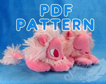 PDF PATTERN Lounging Lion Plush pattern and tutorial set