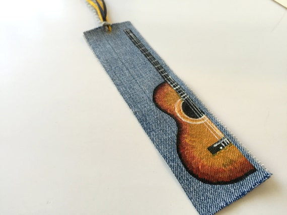 Guitar Bookmark from Repurposed Denim - Unique Gift for Man or Woman