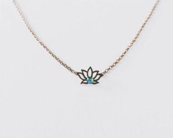 GENESIS⋯ Tiny Iridescent Lotus 16k Gold Plated Filled Holographic Rhinestone Dainty Minimalist Simple Choker Layering