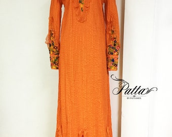1970s vintage Mexican hand embroidered maxi dress, embroidery flower