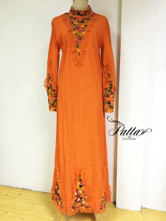 S vintage mexican hand embroidered maxi dress embroidery
