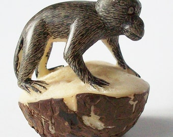 Monkey Carving / Single Nut Carved Monkey /Appears like he will leap at any second