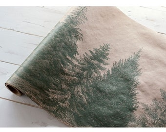 """Paper Table Runner Roll 20"""" by 25' - Evergreen Pattern"""