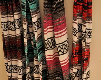 Mexican blanket open scarf, traditional scarf made out of Mexican sarape from Saltillo, Mexico. A great item for the boho fashionistas.