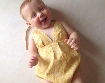 Baby Girls Halter Playsuit Onesie Romper in Mustard