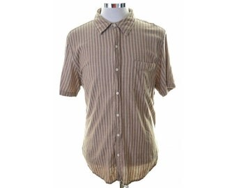Levis Mens Shirt XL Brown Stripes Cotton
