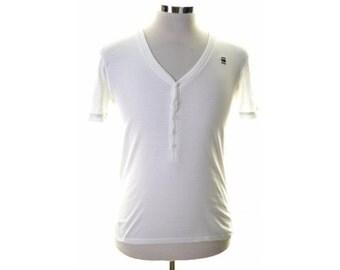 G-Star Mens T-Shirt Top Medium White Cotton