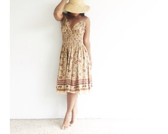 the indian cotton sundress . smocked indian dress . cotton tasseled summer dress . boho bohemian cotton sundress