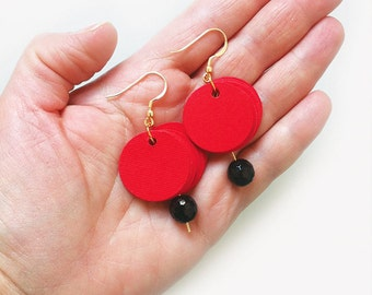 Dangle earrings, paper earrings, paper jewelry, red and black earrings, circle earrings with pendant, gift for her