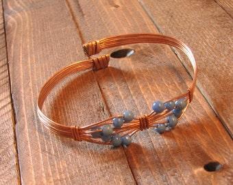 B11 - Beautiful Blue Glass Beaded Copper Bracelet Adjustable