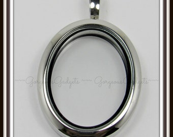 Floating Locket / Glass Locket / Memory Locket Pendant Stainless Steel Oval