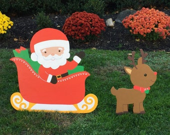Christmas Santa in Sleigh and Reindeer Outdoor Lawn Decoration