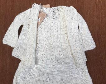 2 Sugar cane dresses for baby girl, Hand knitted dress, baby dress, white dress