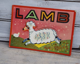 Lamb Nursery Decor, Farm Nursery Art, Lamb Flash Card, Sheep Art, Kids Playing Cards, Barnyard Nursery Decor, Farm Art,Kids Farm Decor