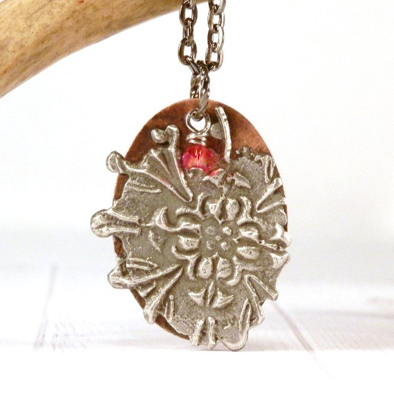 Stamped necklace stamped solder pendant mix media jewelry for How to solder copper jewelry