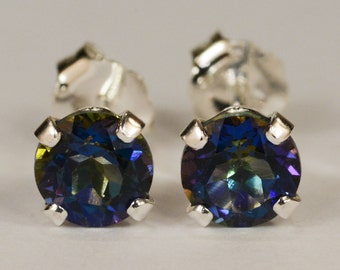 Mystic Blue Topaz Earrings~.925 Sterling Silver Setting~5mm Round~Genuine Natural Mined