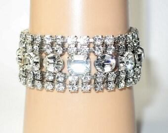 Vintage Signed Weiss Clear Rhinestone Bracelet 5 Rows