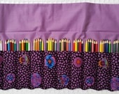 Extra Large Colored Pencil Roll Rollup for Coloring 100+ Pencils, Pencil Roll Holder, Kaffe Fassett Guinea Flower Purple Fabric FREE SHIP US