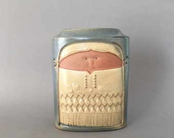 Hans Schirmer Achatit Werkstätten,  lovely rare vase , Boy and Girl from the  1960s . - West Germany