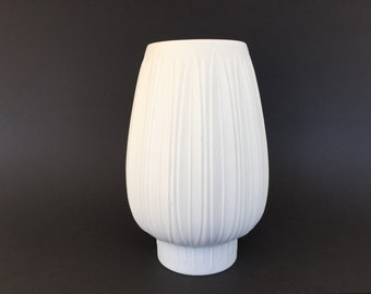 Heinrich  1883    Selb Bavaria ,Op Art  Mid Century Modern 1960s  Germany white bisque  Porcelain Relief structure vase.