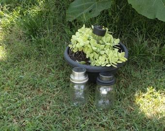 set of 5, GUNMETAL Grey, mason jar Solar Lids Mason Jar Solar Lanterns Mason Jar  Luminaries Garden Lights Wedding