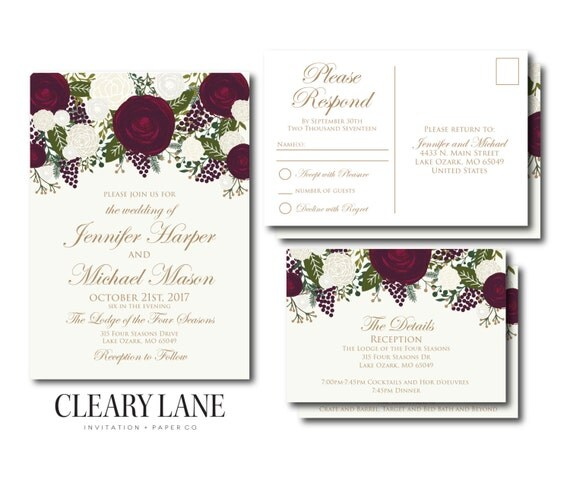 Wedding Invitation Set Template DIY Wedding By ClearyLane