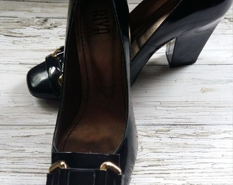 "Vintage 80's Brazilian designer ""RIVA"" black patent leather ladies shoes. Size UK 4, European 37."
