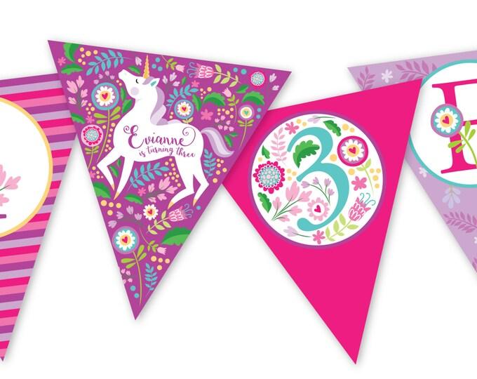 Unicorn Bunting, Garland, Banner, Customized Printable DIY, Girl's Birthday Party