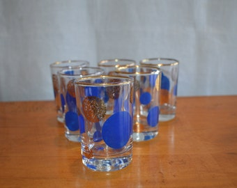 Set of Six JUICE GLASSES Made by the Dominion Glass Co. Blue and Gold DOT Design. Mid Century Classics. Wonderful Vintage Condition.