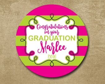Preppy Graduation, Pink and Green, Graduation Stickers, Class of 2016, Favor Stickers for Grad Party, Personalized Stickers