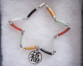 """14k White Gold Asian- Lt Green, White and Red Jade + Yellow Jasper, Black Onyx 7 5/8"""" With 14kw Gold Good Fortune Charm 7 5/8"""" Bracelet"""