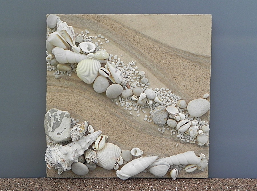 Nautical home decor beach shell art nature materials art for Decorative items for home with waste material