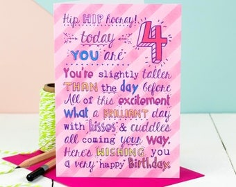4th Birthday Card; Choice Of Pink Or Blue; Card For Four-Year-Old; Children's Age Cards;