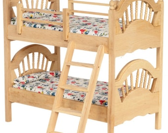 Dollhouse Miniature 1:12 Scale Unfinished Bunkbed #T4603