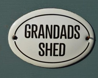 Small antique style enamel metal Grandads Shed sign
