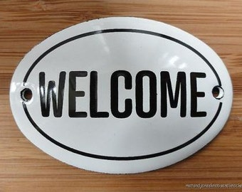 Small antique style enamel metal Welcome sign