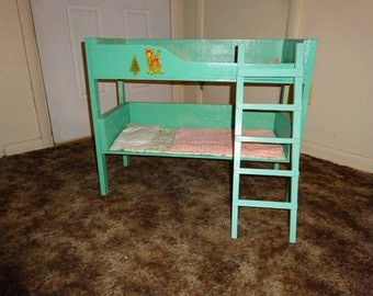 Vintage 1950's Wooden Doll Bunk Bed With Ladder - FREE SHIPPING