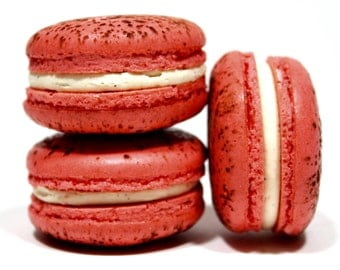 Red Velvet French Macarons --  Gift Box of 10 French Macaron Cookies--Best French Macaron--Bisou Bisou
