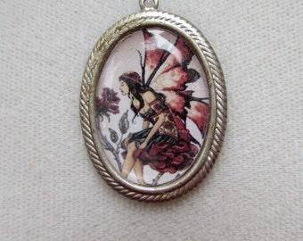 Rose Fairy Altered Art Pendant