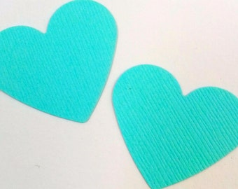 25, 50, 75, 100 aqua, patina medium hearts - weddings, bridal showers - heart die cuts - aqua paper hearts