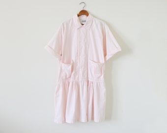 80s pale pink dress / cotton dress / oversize shirt dress