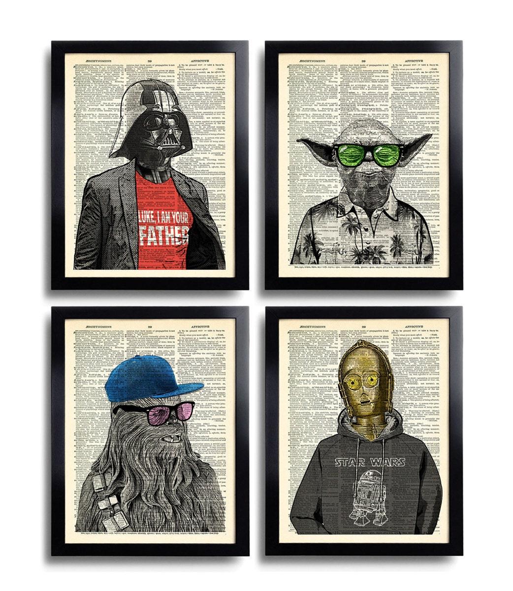 Star Wars Art Print Set Yoda Office Wall Art Set Of Prints