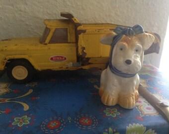 Vintage Ceramic Terrier Dog Figurine // Kitschy Decor // Nursery Decor