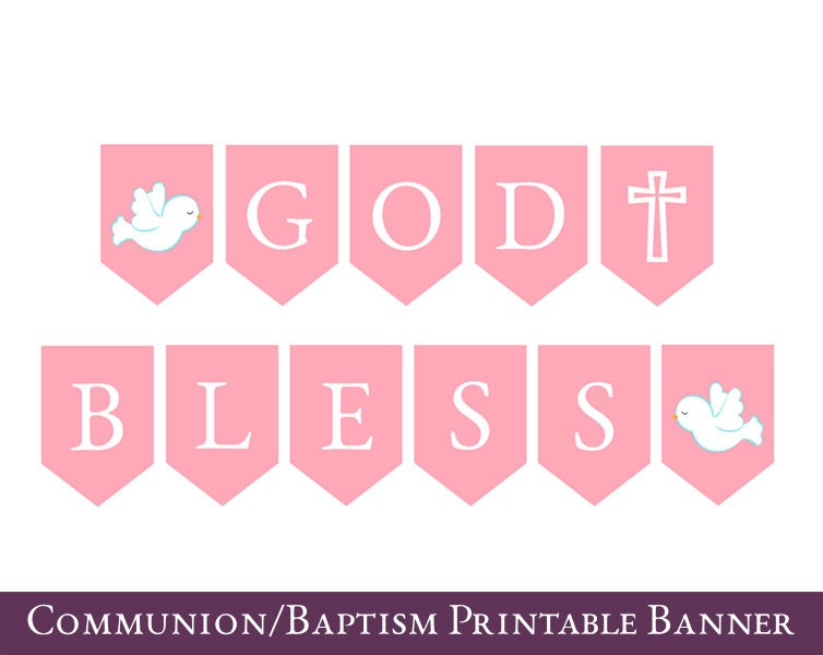 First Communion Banner Communion bunting Printable Baptism