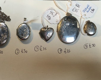 Good selection of 6 vintage silver lockets