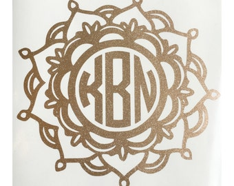 Glitter Mandala Monogram Decal