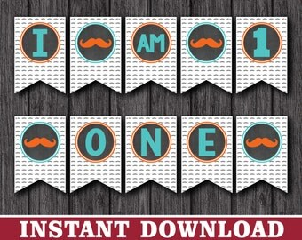 """Mustache High Chair Banner - """"I AM 1"""" Party Decorations - Printable Digital File - INSTANT DOWNLOAD"""