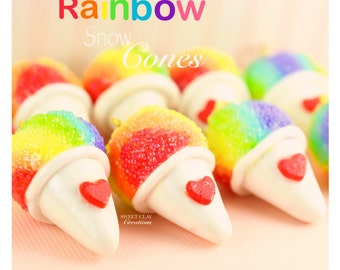 Rainbow Snow Cone Charm Polymer Clay Charm Miniature Food Jewelry Charm Necklace Handmade Gift Girl