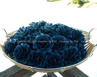 Navy Blue Wedding Paper Flowers - For Wedding Table Decorations -Favor Boxes Flowers - Cake Toppers - 50 pcs - Made to Order